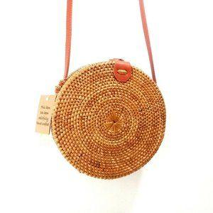 Woven Rattan Canteen Women's Bag Round Handmade